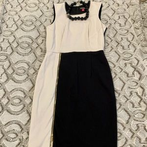 Edgy Vince Camuto black and white dress
